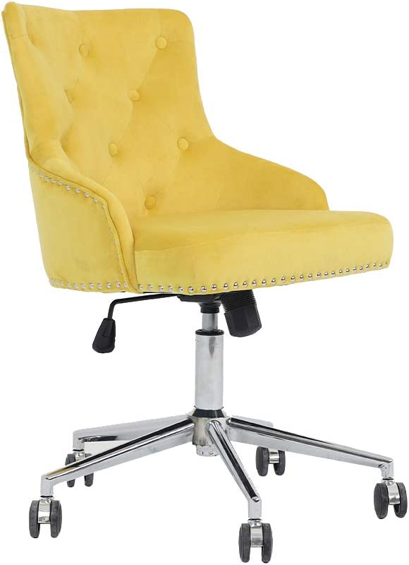 Irene House Modern Mid-Back Tufted Velvet Fabric Computer Desk Chair Swivel Adjustable Accent Home Office Task Chair Executive Chair with Soft Seat (Yellow)