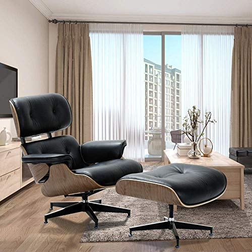 Modern Sources – Mid Century Recliner Lounge Chair with Ottoman Real Wood Genuine Italian Leather Eames Replica (Black/Walnut)