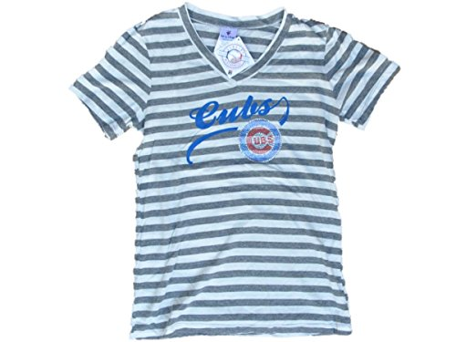 Chicago Cubs SAAG Women Gray Striped Soft Triblend V-Neck T-Shirt (S)