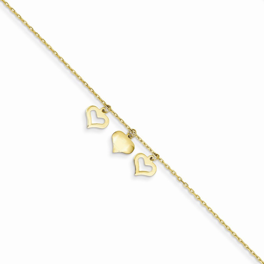 Best Quality Free Gift Box 14k 3 Hearts W//1 Inch Extension Anklet