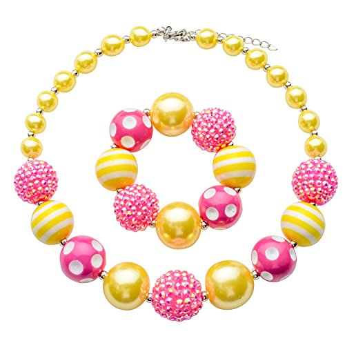BUENAVO Chunky Bubblegum Necklace Candy Princess Fashion Beads Necklace for Baby Girl with Gift Box ()