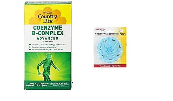 Amazon.com: Coenzima del complejo B de la vida de país avanzado cápsulas, 120 cuenta con gratis 7 días plástico píldora organizadores: Health & Personal ...