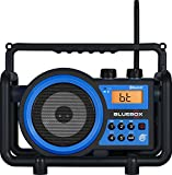 Sangean BB-100SE AM / FM / BLUETOOTH / Aux-In / Ultra Rugged Rechargeable Digital Tuning Radio (Black/Blue) Special Edition