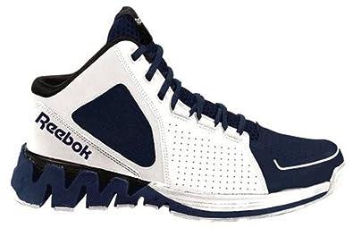 fbb58be367b12 Reebok Men s ZigKick Hoops Basketball Shoe Zig Sole Mid White Navy Blue and  Black (8.5