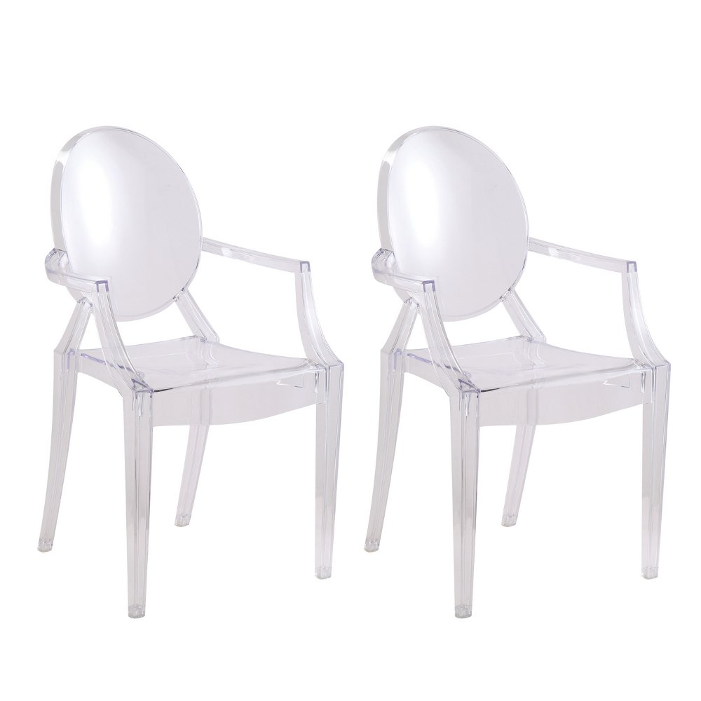 Designer Modern Clear Arm Chair - Set of 2