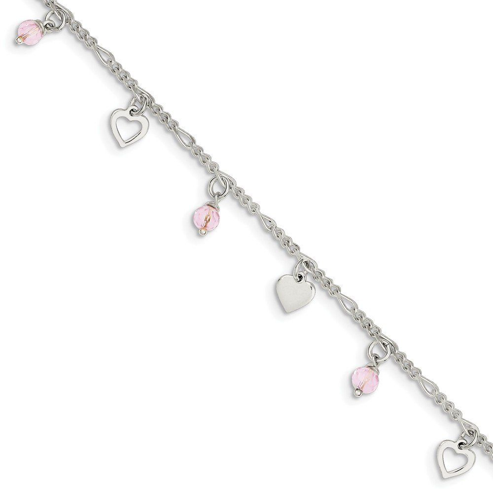 Diamond2Deal 925 Sterling Silver Heart and Rose Glass Anklet 9inch