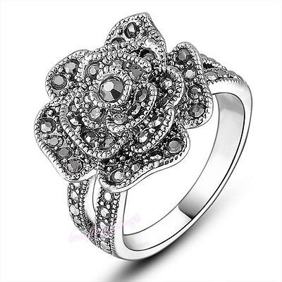 Blazers Jewelry 1985 - Vintage Marcasite Flower 18k White Gold Plated Alloy (Size 7) - Marcasite Bag