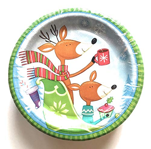Sturdy Holiday Paper Plates - Cute Reindeer Theme - 75 Count - 6.75 inches Perfect for Appetizer Plates or Dessert Plates - Limited Quantity!