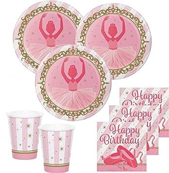 ad407d6caed2 32 Teile Prima Ballerina Sparkling Gold Party Deko Set für 8 Kinder ...