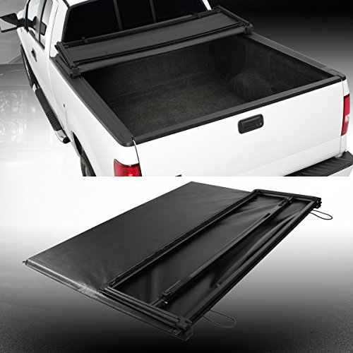 CAREPAIR Soft Vinyl Tri-Fold Truck Cargo Bed Tonneau Cover Black for 2002-2008 Dodge Ram 1500/2003-2009 Dodge Ram 2500/3500 Pickup 6.5 feet Fleetside Bed Only(Not fit Stepside Bed)