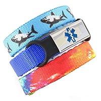 3 Pack Kid's Medical Alert Bracelets   Children's Medical ID Bracelets   Free Engraving   Adjustable   Value Pack (3 Bracelets) - Jaws & Tiedye
