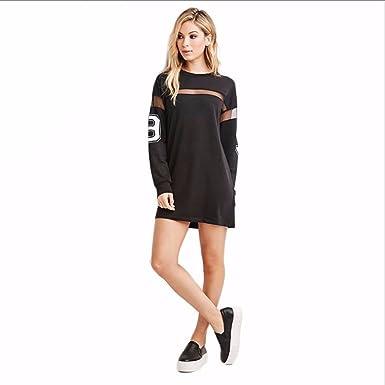 Dress Women Mesh Patchwork Street Style Vestidos Loose Casual Mini Dress Women Sheer Shift Dress