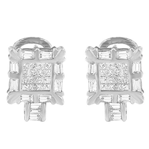 14K White Gold Princess and Baguette Diamond Earrings (1.00 cttw, H-I Color, SI1-SI2 Clarity)
