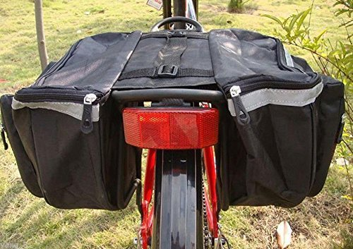 Double Bike Panniers Yosoo Water resistant Cycling Bicycle Bike Pannier Rear Seat Bag Rack Trunk Rack Back Rear Seat Tail Carrier Trunk Double Pannier Bag