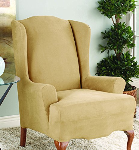 (Sure Fit Stretch Suede - Wing Chair Slipcover  - Camel (SF36446))