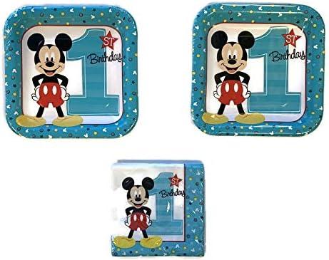 16 Napkins 16 Mickey Mouse 1st Birthday Party Bundle 7 Plates