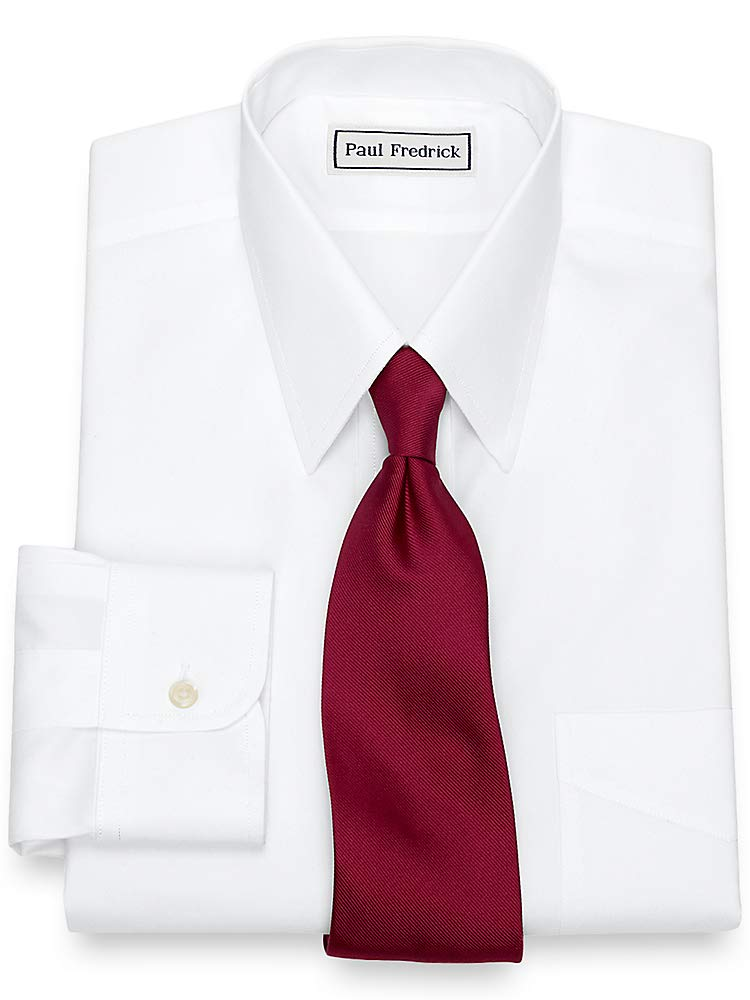 Paul Fredrick Men's Non-Iron 2-Ply Cotton Straight Collar Dress Shirt White 20.0/37