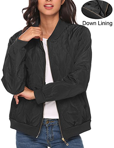 Jacket Black Travel (Beyove Women Lightweight Puffer Coat with Two Pockets Quilted Jacket Black S)