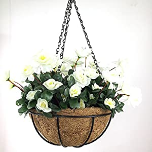 Lopkey Outdoor Artificial Red Azalea Bush Flower Patio Lawn Garden Hanging Basket Chain Flowerpot 2