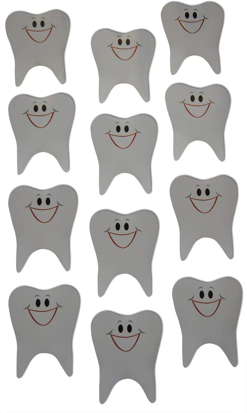 Novel Merk Healthy Tooth Smiling Small Refrigerator Magnets Set for Kids Party Favors & School Carnival Prizes Miniature Design (12 Pieces)