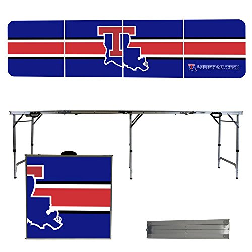 Louisiana Tech University Bulldogs 8 Foot Portable Folding Tailgate Table Stripe (Tech Tailgate Pong Table)