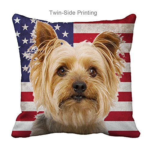 Personalized Couch Pillow Covers Printing American Flag Silky Terrier Dog,Zippered (20X20 inch)