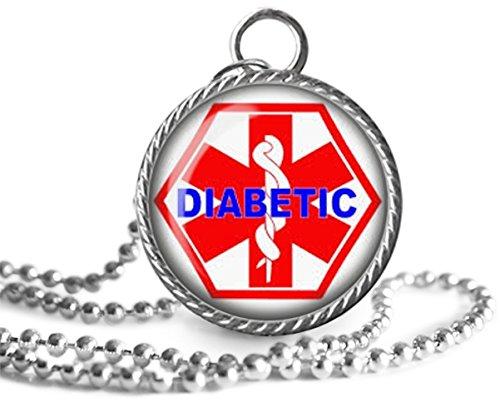 Diabetic Necklace, Diabetic Medical Emblem Image Pendant Handmade