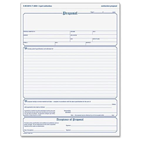 TOPS Proposal Form, 3-Part, Carbonless, 8.5 x 11 Inches, Phantom Rule, 50 Sets per Pack (3850) - Carbonless Triplicate Proposal Form