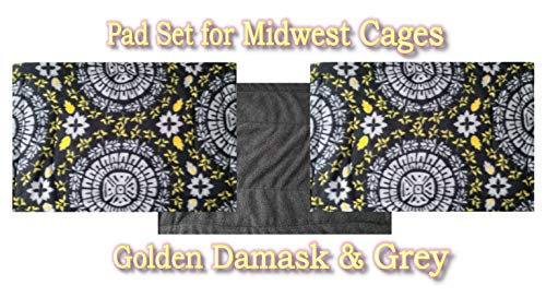 Fleece Pee Pads Set. Sized to fit All 3 Side by Side in Midwest Cages. for Guinea Pigs, Chinchillas, Ferrets or Other Small Animals. Use on top of Liners. Reusable for Years! (GDG) ()