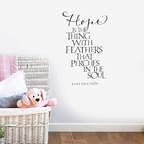 (Oderio Wall Art Decal Sticker Words Wall Saying Words Removable Mural Nursery Kid Bedroom Hope is The Thing with Feathers That Perches in The Soul for Living Room Bedroom)