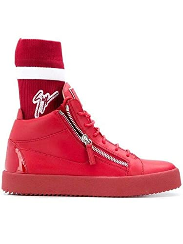 564969b05cfc1 Amazon.com   Giuseppe Zanotti Design Men's Ru80044002 Red Leather Hi ...