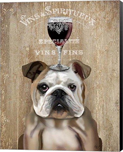 Dog Au Vin, English Bulldog by Fab Funky Canvas Art Wall Picture, Museum Wrapped with Black Sides, 11 x 14 inches
