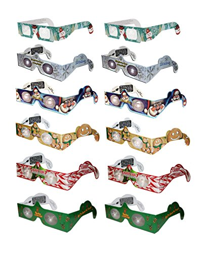 Holiday Specs 3D GLASSES-12pk Including Custom Designed Snowman Glasses, Look through Glasses and see Snowmen, Snowflakes, Santa, Gingerbread Men, Candy Canes or Reindeer Appear before your Eyes! (Snow Santa)
