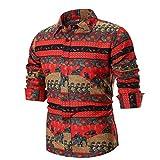 Mens Floral Dress Shirt - Srogem Long Sleeve Vintage Floral Printed Blouse Tops T Shirt (S, Red)