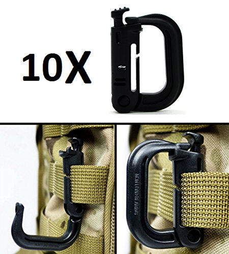 Ultimate Arms Gear 10 Pack Multipurpose Carabiner D-Ring Grimloc Detent Locking for MOLLE Webbing Vest Backpack Keychain Clip Systems, Black - Locking Detent