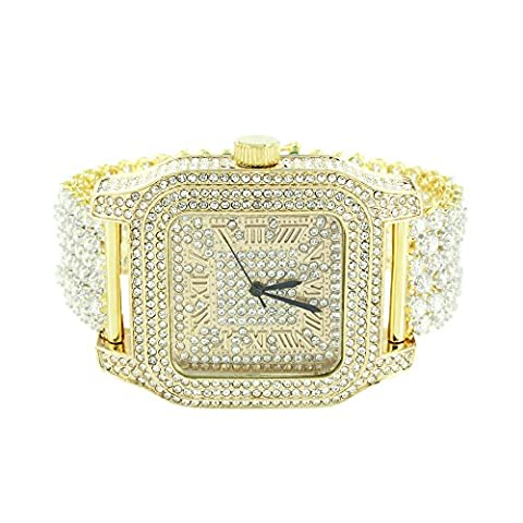 Square Face Mens Watch 14K Gold Finish Iced Out CZ Watch Prong Set Bracelet Jojo (Iced Out Square Watch)