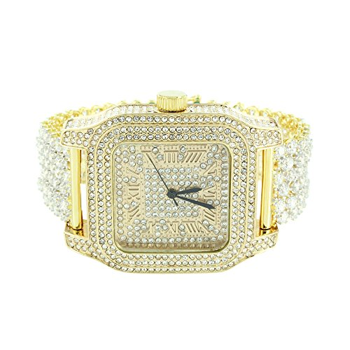 Square Face Mens Watch 14K Gold Finish Iced Out CZ Watch Prong Set Bracelet - With Men Square Faces