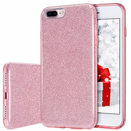 iPhone 8 Plus Case, MILPROX iPhone 7 Plus Glitter Sparkly Pretty Cute Premium 3 Layer Hybrid Anti-Slick/Protective/Soft Slim Thin Case for Girls/Women iPhone 7 Plus / 8 Plus - Pink [Rose Gold]
