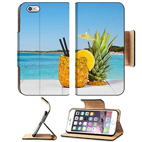 Luxlady Premium Apple Iphone 6 Plus Iphone 6S Plus Flip Pu Leather Wallet Case Image Id  41066810 Pineapple Juice Served In The Peel On White Wood Table