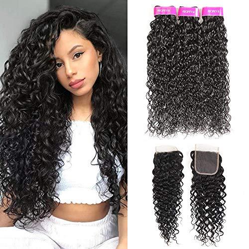Brazilian Hair 9A Grade Water Wave 3 Bundles with Closure (16 18 20+14) Virgin 100% Unprocessed Human Hair Bundles Water Wave Free Part Closure Natural Color
