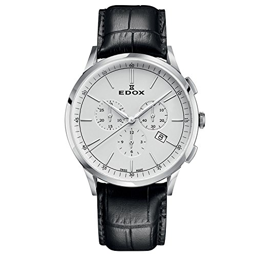 - Edox Men's Les Vauberts 44mm Black Leather Band Steel Case Quartz Silver-Tone Dial Watch 10236 3C AIN