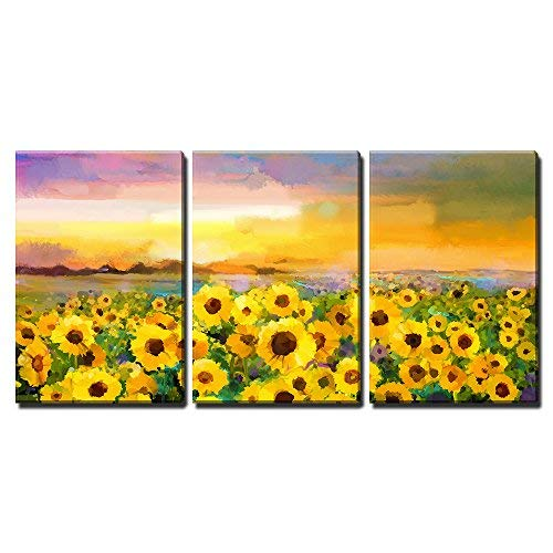 """wall26 - 3 Piece Canvas Wall Art - Oil Painting Yellow- Golden Sunflower, Daisy Flowers in Fields. Sunset Meadow Landscape - Modern Home Art Stretched and Framed Ready to Hang - 16""""x24""""x3 Panels"""