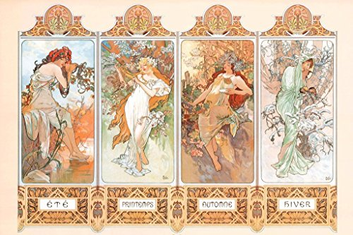 Mucha 4 Seasons Wall Poster