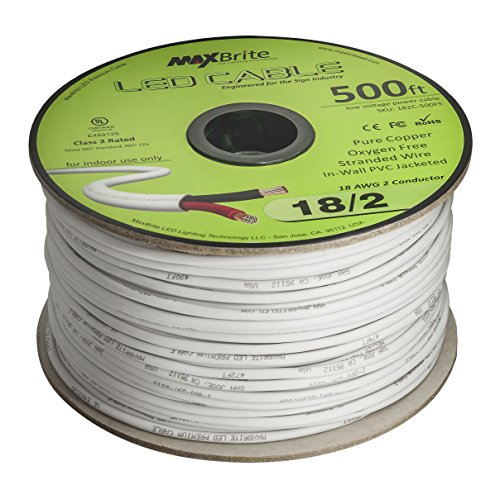18AWG Low Voltage LED Cable 2 Conductor Jacketed In-Wall Speaker Wire UL/cUL Class 2 (500 ft reel) by MaxBrite (Image #1)