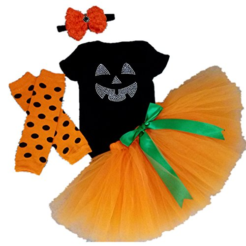 Cute Halloween Costumes For Baby Girls (AISHIONY Baby Girls 1st Halloween Tutu Onesie Costume Newborn Dress 4PCS M)