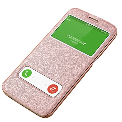 Case Samsung Galaxy S7, Pacyer PU Flip Shockproof Case for Galaxy S7/S7 Edge (Rose gold, ()