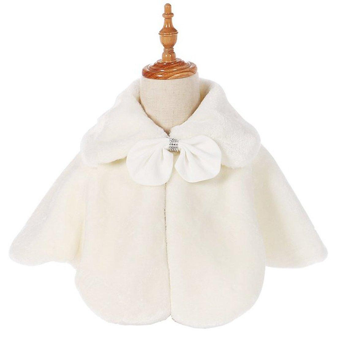 Funtrees Ivory Flower Girl Cape Wedding Party Wrap Bolero Jacket