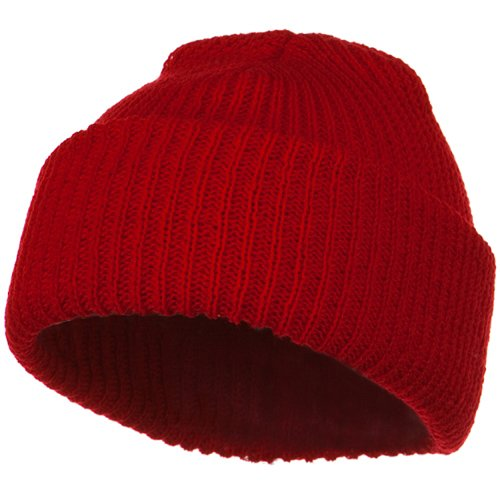 Knit Watch Cap - Solid Plain Watch Cap Beanie - Red OSFM