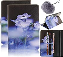 Apple iPad Mini 1/2/3 Table Case,Vandot Lovely PU Leather Flip Folio Stand Smart Case Cover Auto Wake/Sleep Magnetic Wallet Case Card Holder+Fashion Pompon Ball Pendent-Lavender Flower Blossom