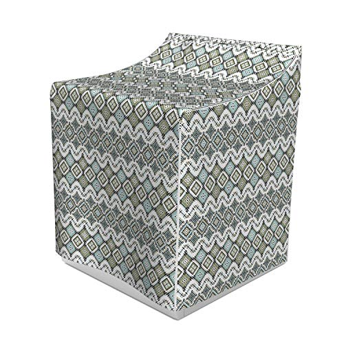 (Ambesonne Ethnic Washer Cover, Geometric Pattern with Fractal Square Shapes Line Culture Artwork, Suitable for Dryer and Washing Machine, 29